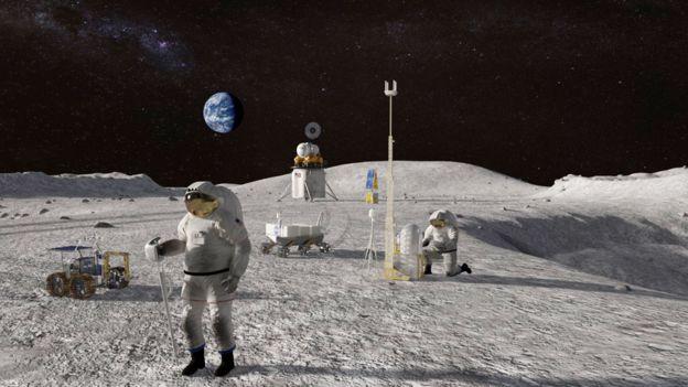 Astronautas en la Luna en una ilustración de la misión Artemisa