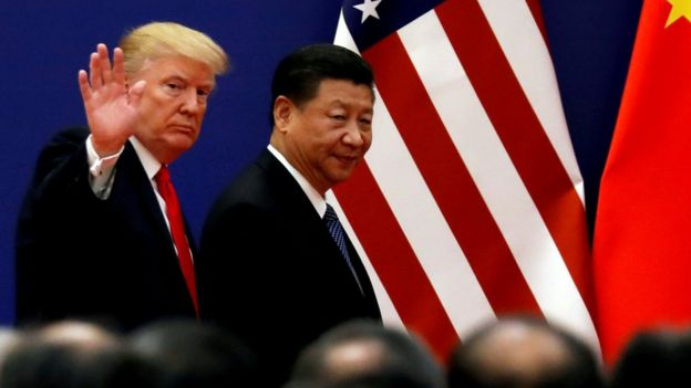 US President Donald Trump and Chinese President Xi Jinping meet business leaders in Beijing in November 2017