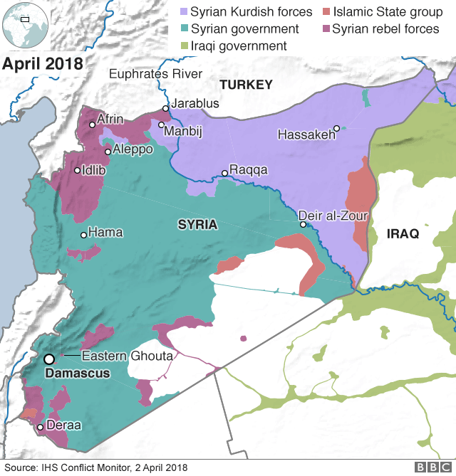 Map showing control of Syria (2 April 2018)