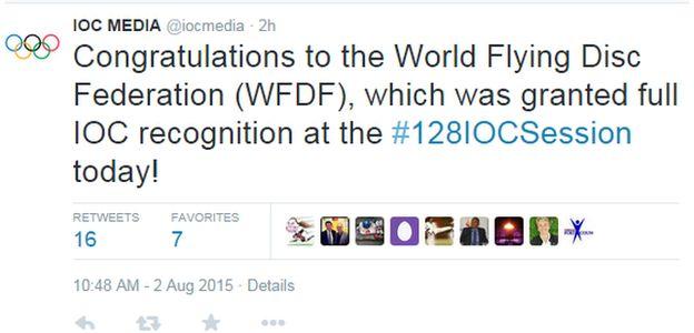 IOC tweet