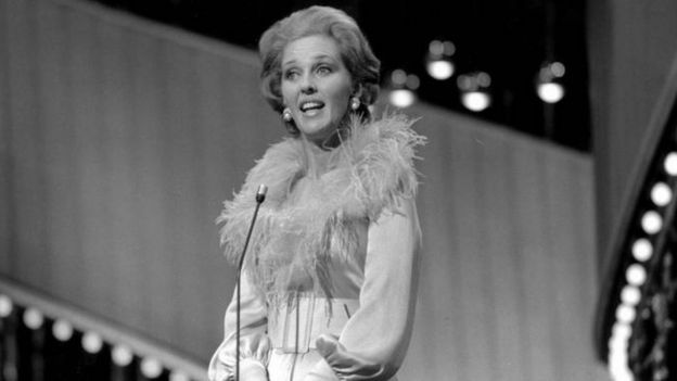 Katie Boyle hosts the 1974 Eurovision Song Contest