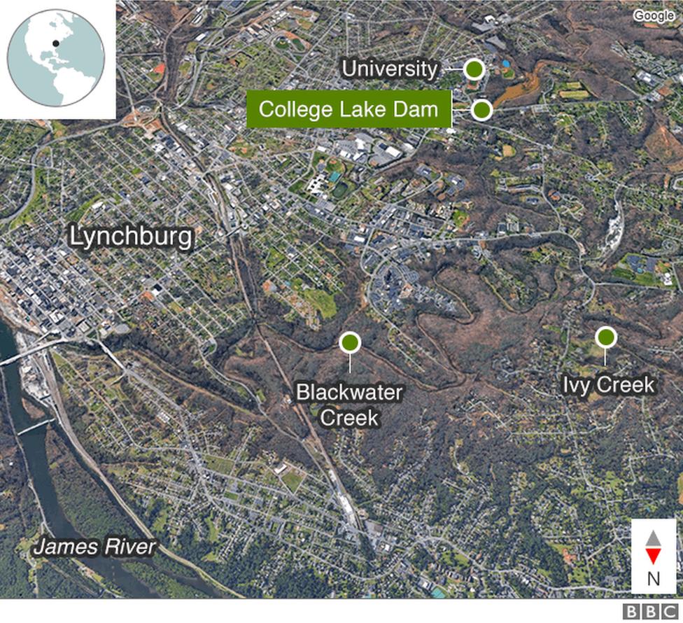 Lynchburg floods: Flooding fears spark evacuations in US city - BBC News