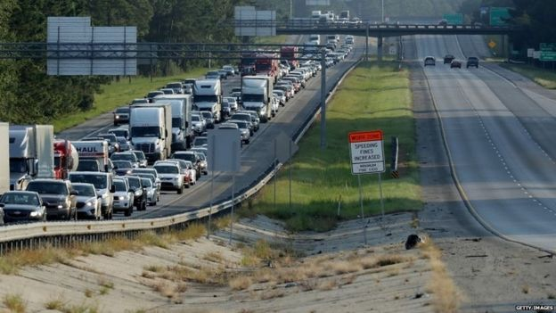 Northbound lanes of I-95 near the Georgia-South Carolina border are empty as northbound lanes are packed as people evacuate ahead of the arrival of Hurricane Irma September 8, 2017 in Yemassee, South Carolina