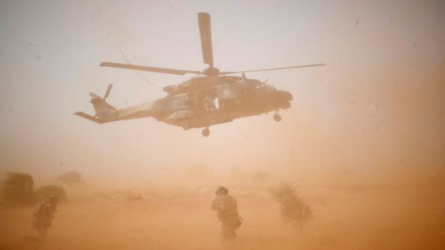 A NH 90 Caiman military helicopter takes-off during the regional anti-insurgent Operation Barkhane in Mali - October 2017