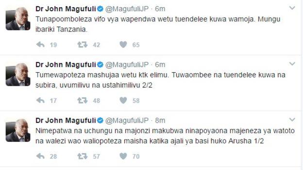 Ujumbe wa Magufuli Twitter
