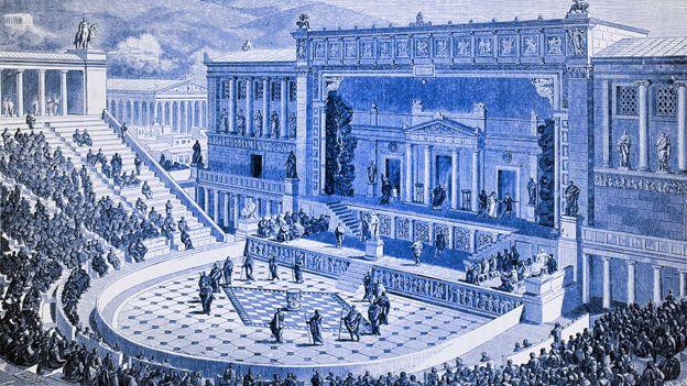 El teatro de Dionisio, en las laderas de la Acrópolis, Atenas, Grecia, imaginado.
