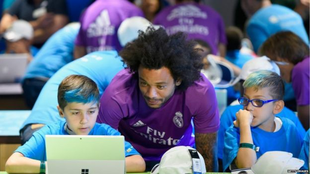 Real Madrid star Marcelo on a team visit to the Microsoft store in New York