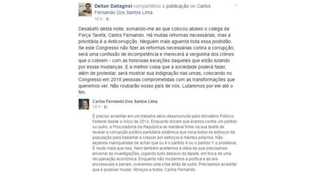 Publicação de Deltan Dallagnol no Facebook