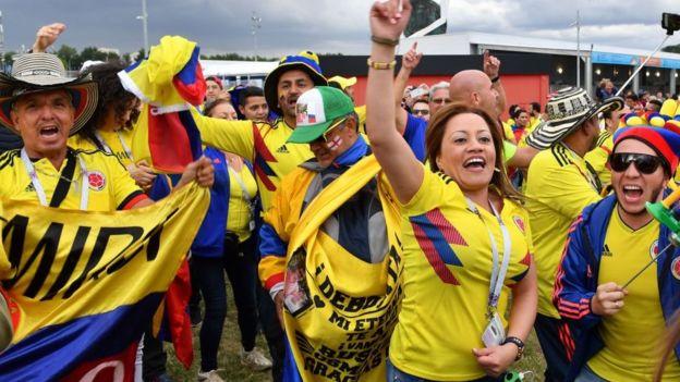 Los aficionados colombianos son mayoría en Moscú.
