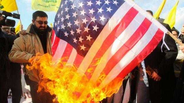 Manifestation against the USA in Lebanon
