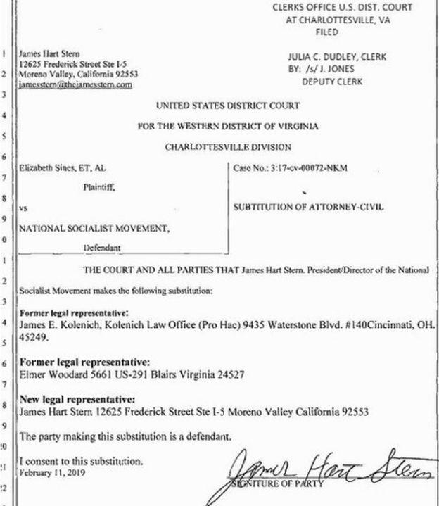 Documento comprovando que James Stern é o novo prsidente da organização e tem promovido mudanças
