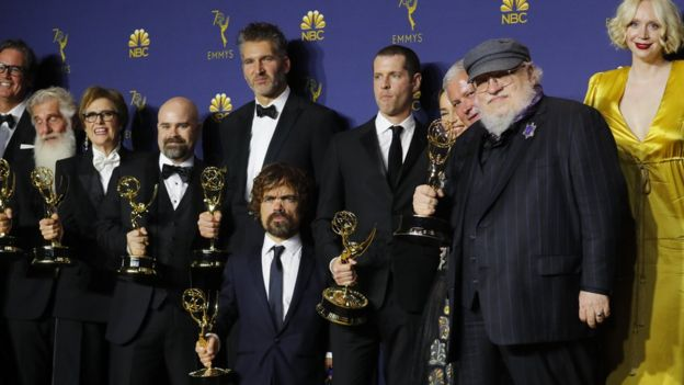 George RR Martin and Game of Thrones cast