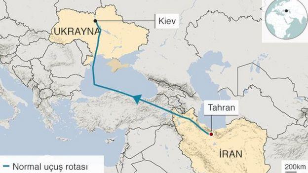 Tahran Kiev seferini yapan uçağın rotası