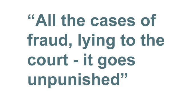 "Quotebox: ""All the cases of fraud, lying to the court - it goes unpunished"""