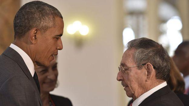 Barack Obama y Raúl Castro en La Habana en marzo de 2016