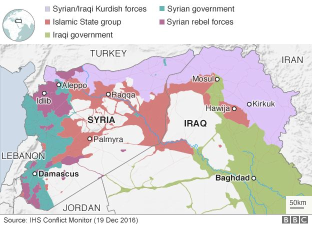 Syria conflict turkey plans for ceasefire before new year bbc news map showing control of syria and iraq 19 december 2016 gumiabroncs Gallery