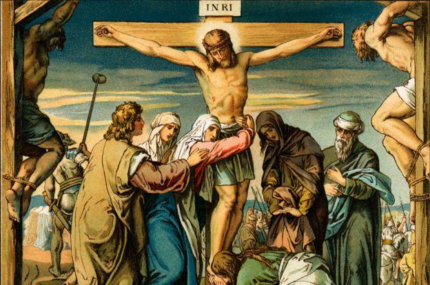 Una ilustración de 1880 de la crucifixión de Jesús