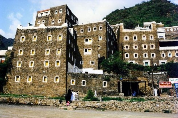 Fortress architecture in the village of Rijal Al-Ma', reaches by cable car from the mountain top