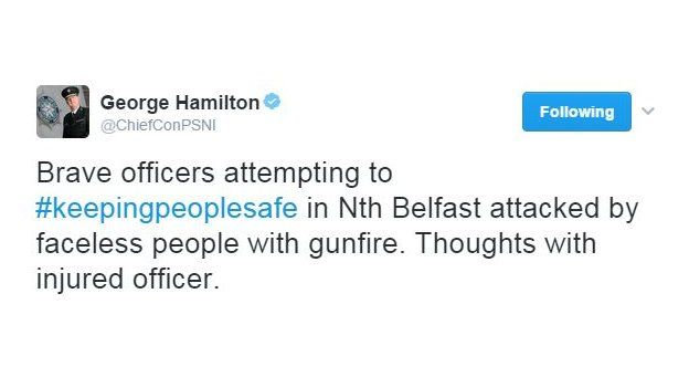 PSNI chief constable George Hamilton has tweeted his condemnation