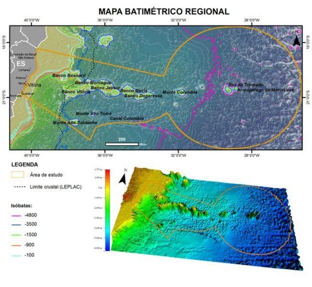 Mapa batimétrico da cadeia de montes submarinos entre Vitória e Trindade