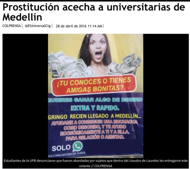 Cartel invitando a universitarias