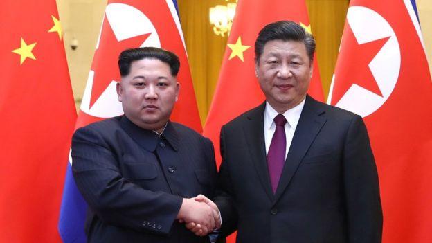 Kim Jong-un y Xi Jinping en Pekín