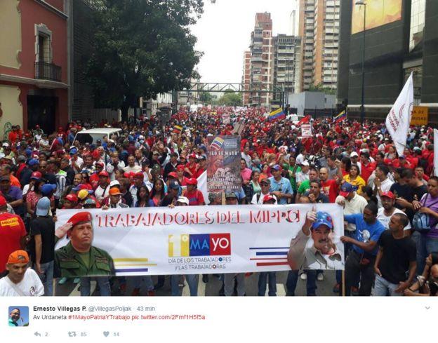 Foto de la concentración oficialista por el Día del Trabajador.