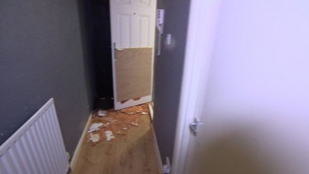 Gwenton Sloley's damaged front door