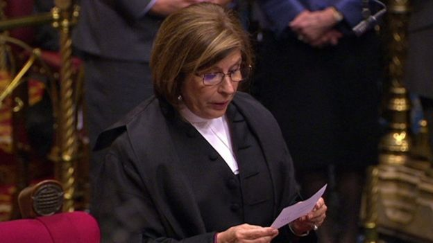 Lords Speaker Baroness D'Souza reading out the result of one of Monday's votes
