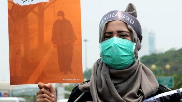 Mujer con mascarilla en Indonesia
