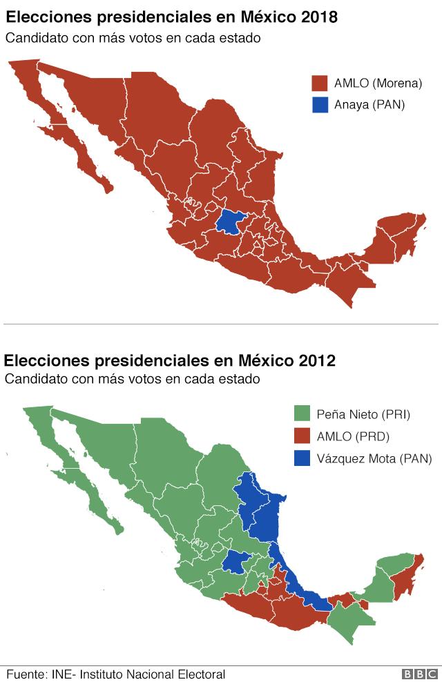 Mapa de resultados electorales en México.
