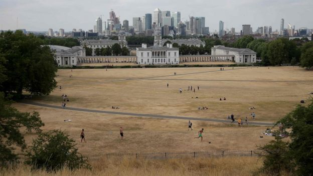 visitors to Greenwich Park walk and play on the dry brown grass