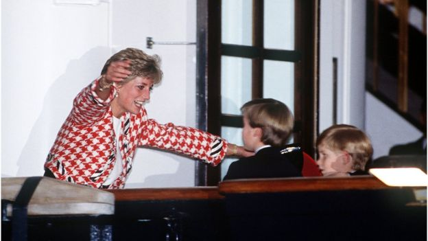 Diana greets her sons Prince William and Prince Harry on the deck of the yacht Britannia in Toronto, 23rd October 1991