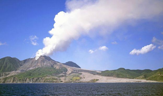volcano spewing smoke