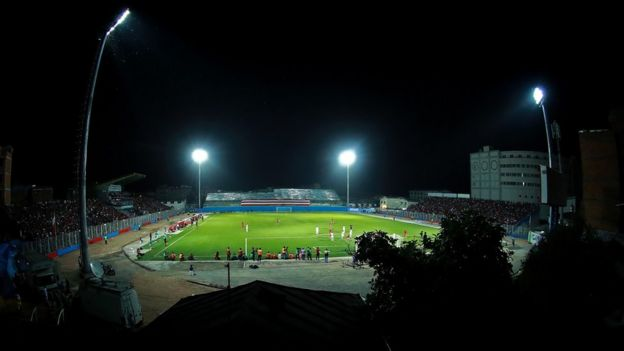 Image shows Parisa Pourtaherian's view of the match