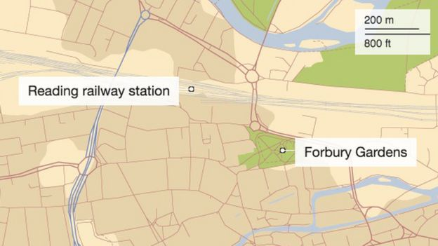 A map showing where Forbury Gardens is in relation to Reading railway station