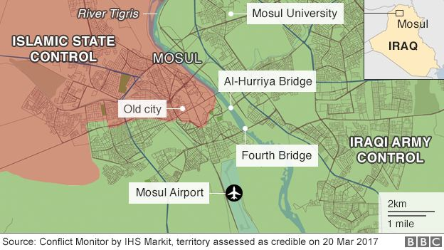 Map of Mosul territory, 20 March 2017