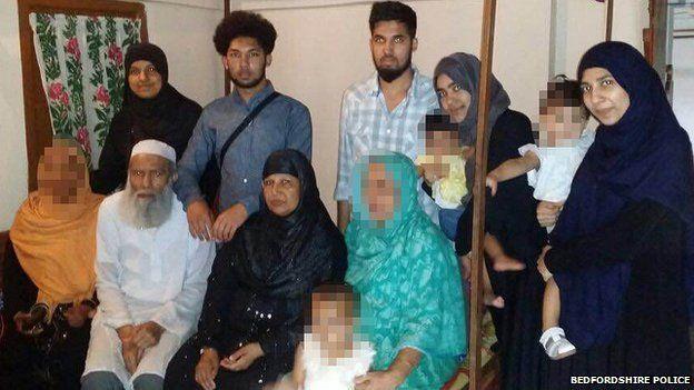 (Left to right standing) Rajia Khanom, Mohammed Toufique Hussain, Mohammed Saleh Hussain, Roshanara Begum, Sheida Khanam, (left to right sitting) Muhammed Abdul Mannan, Minera Khatun