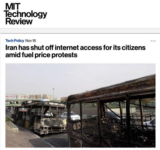 نشریه دانشگاه امآیتی هم به قطع سراسری اینترنت در ایران واکنش نشان داده است