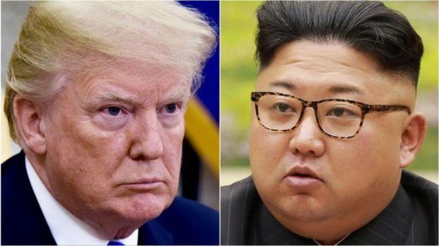 Montagem com fotos de Trump e Kim Jong-un