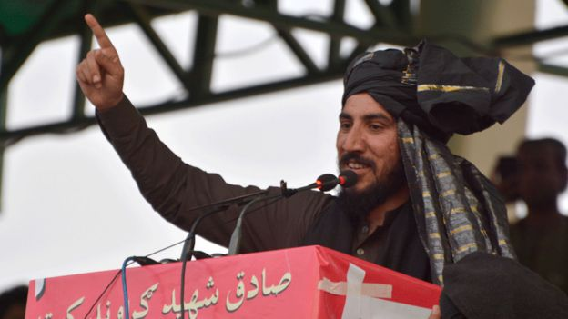 Quetta, Pakistan. 11th March, 2018. Chief of Pashtun Tahafuz Movement Mr Manzoor Pashteen addressing to Public gathering in Quetta, during campaign of Pashtun Long march in Pakistan.