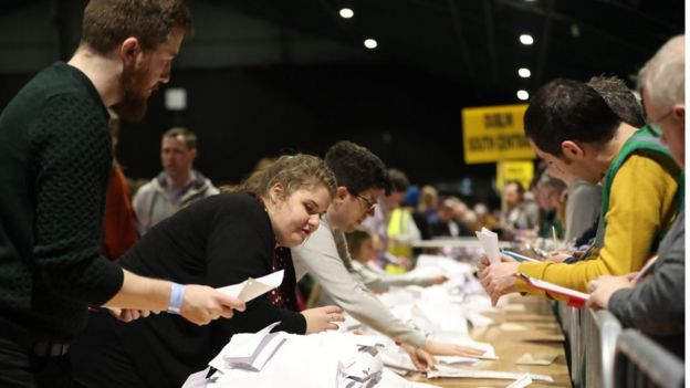 Voting papers are organised at the counting centre at the RDS in Dublin