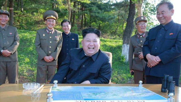 North Korean leader Kim Jong-un at missile launch, 21 May 2017
