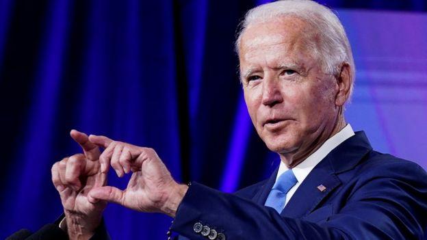 Democratic presidential nominee Joe Biden speaks in Delaware, US, on 2 September 2020
