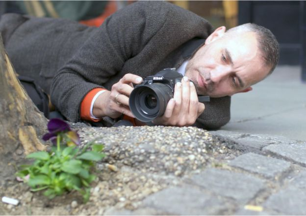 Paul Harfleet taking a photo of a pansy that he has planted