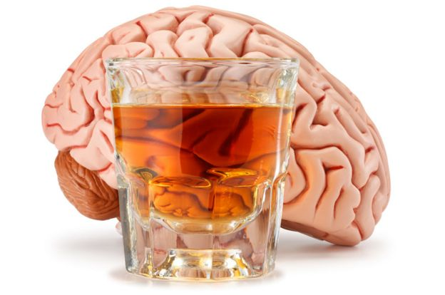 Brain with a glass of alcohol in front.