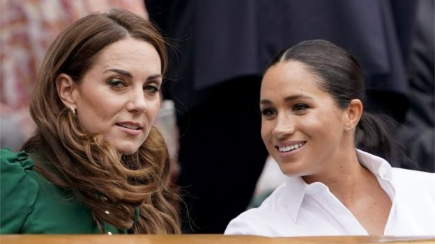 The Duchess of Cambridge and the Duchess of Sussex at Wimbledon tennis tournament