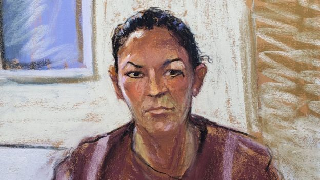 A courtroom sketch of Ghislaine Maxwell