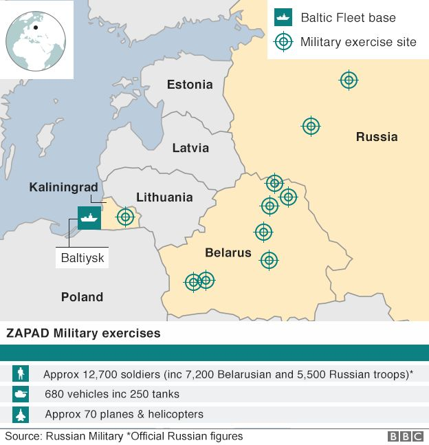 Zapad exercise locations