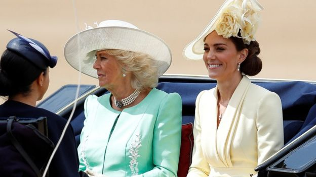 The Duchess of Cambridge arriving alongside the Duchess of Cornwall